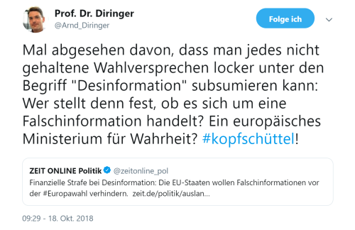 Prof. Diringer Wahrheitsministerium