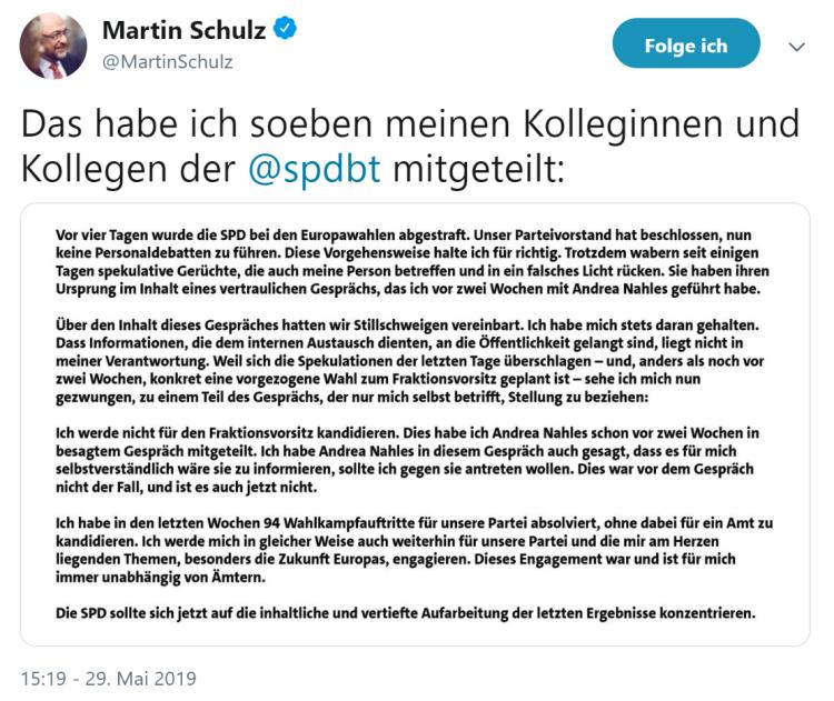 Martin Schulz-Twitter-Mitteilung