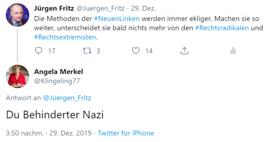 Du behinderter Nazi