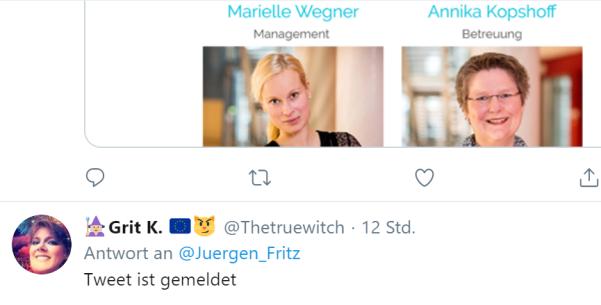 Tweet ist gemeldet