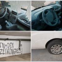 Linksextremisten demolieren Gewerkschaft der Polizei-Auto