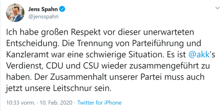 Jens Spahn-Twitter-Respektsbekundung