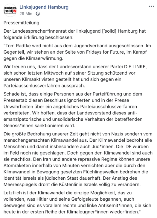 Pressemitteilung Linksjugend Hamburg