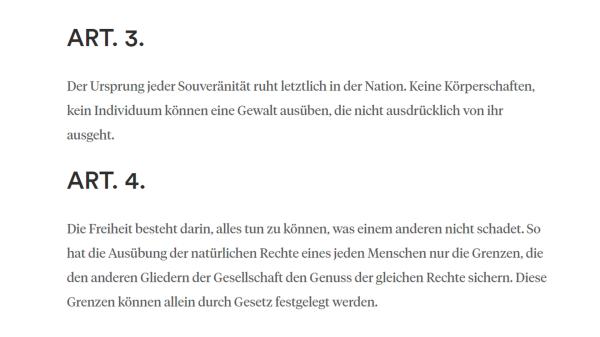 Menschenrechtsdeklaration 1789 - Art. 3+4