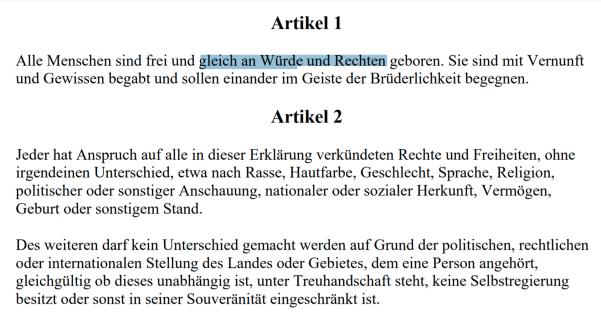 Menschenrechtserklärung von 1948 - Art. 1+2