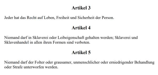 Menschenrechtserklärung von 1948 - Art. 3-5