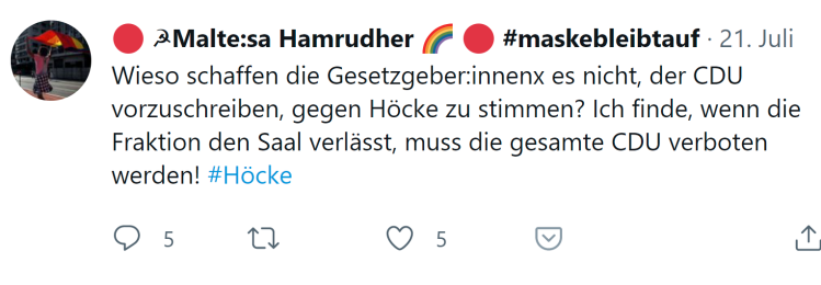CDU verbieten, wenn sie den Saal verlässt