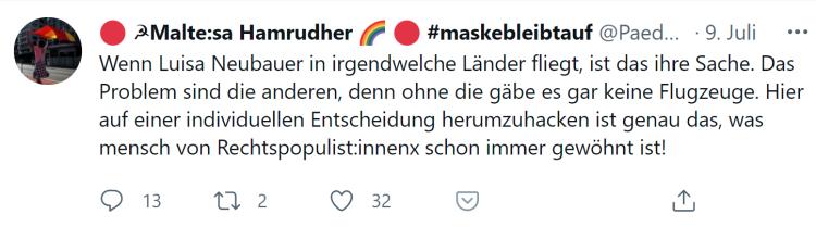 Luisa Neubauer fliegt