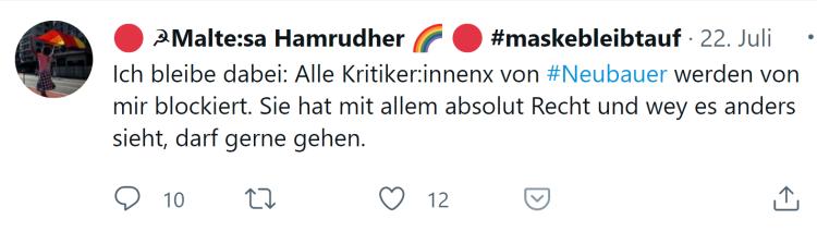 Neubauer-Kritiker werden blockiert