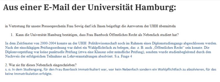 Antwort der Uni HH